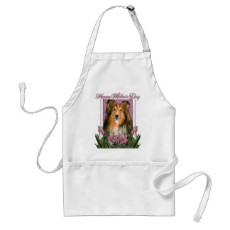 Mothers Day - Pink Tulips - Sheltie Adult Apron