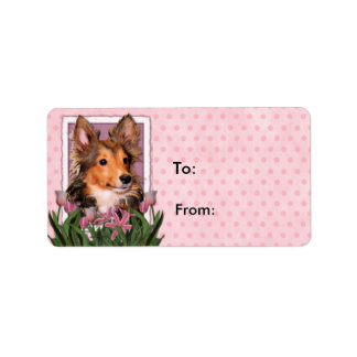 Mothers Day - Pink Tulips - Sheltie - Cooper Label