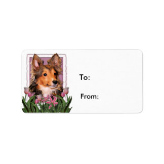 Mothers Day - Pink Tulips - Sheltie Puppy - Cooper Label