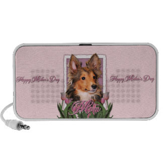 Mothers Day - Pink Tulips - Sheltie Puppy - Cooper Mini Speaker