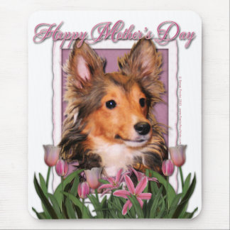 Mothers Day - Pink Tulips - Sheltie Puppy - Cooper Mouse Pad