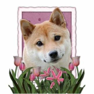 Mothers Day - Pink Tulips - Shiba Inu Photo Cut Out