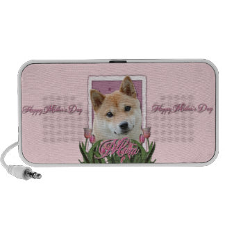 Mothers Day - Pink Tulips - Shiba Inu Portable Speaker