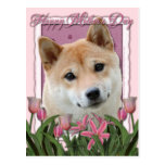 Mothers Day - Pink Tulips - Shiba Inu Postcards