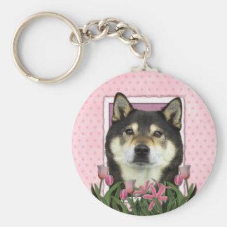 Mothers Day - Pink Tulips - Shiba Inu - Yasha Basic Round Button Keychain