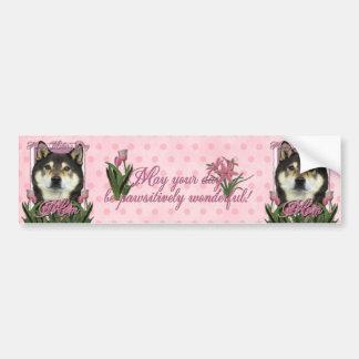 Mothers Day - Pink Tulips - Shiba Inu - Yasha Bumper Sticker