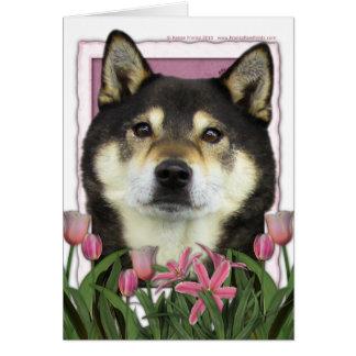 Mothers Day - Pink Tulips - Shiba Inu - Yasha Card