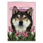 Mothers Day - Pink Tulips - Shiba Inu - Yasha Greeting Cards