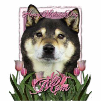 Mothers Day - Pink Tulips - Shiba Inu - Yasha Photo Sculptures