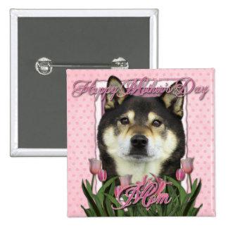 Mothers Day - Pink Tulips - Shiba Inu - Yasha Pinback Button