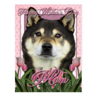 Mothers Day - Pink Tulips - Shiba Inu - Yasha Postcard