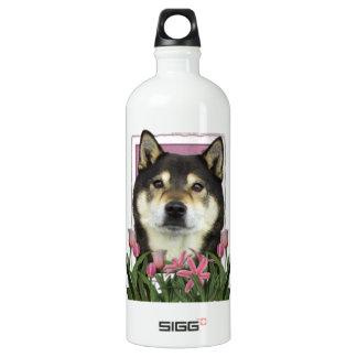 Mothers Day - Pink Tulips - Shiba Inu - Yasha Water Bottle