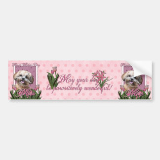 Mothers Day - Pink Tulips - ShihPoo - Maggie Bumper Sticker