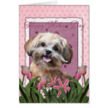 Mothers Day - Pink Tulips - ShihPoo - Maggie Greeting Card