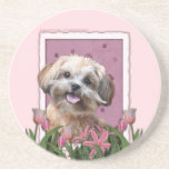 Mothers Day - Pink Tulips - ShihPoo - Maggie Coasters