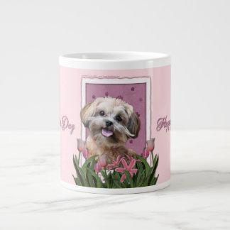 Mothers Day - Pink Tulips - ShihPoo - Maggie Large Coffee Mug