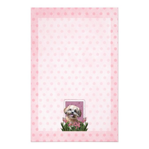 Mothers Day - Pink Tulips - ShihPoo - Maggie Customized Stationery