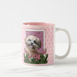 Mothers Day - Pink Tulips - ShihPoo - Maggie Two-Tone Coffee Mug