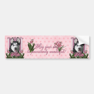 Mothers Day - Pink Tulips - Siberian Husky Bumper Sticker
