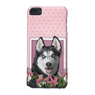 Mothers Day - Pink Tulips - Siberian Husky iPod Touch 5G Cases