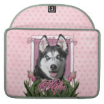 Mothers Day - Pink Tulips - Siberian Husky Sleeve For MacBooks