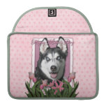 Mothers Day - Pink Tulips - Siberian Husky Sleeves For MacBooks