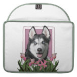Mothers Day - Pink Tulips - Siberian Husky Sleeves For MacBook Pro
