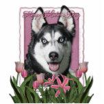 Mothers Day - Pink Tulips - Siberian Husky Photo Sculpture
