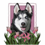 Mothers Day - Pink Tulips - Siberian Husky Acrylic Cut Out