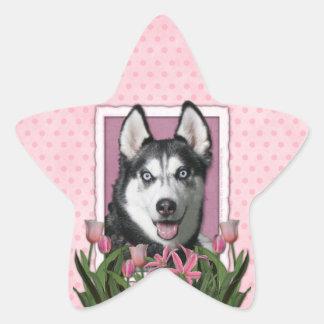 Mothers Day - Pink Tulips - Siberian Husky Star Sticker