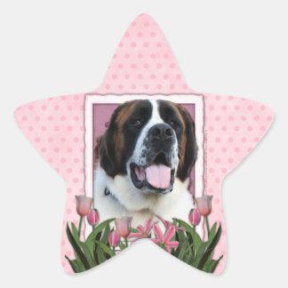 Mothers Day - Pink Tulips - St Bernard - Mae Star Sticker