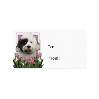 Mothers Day - Pink Tulips - Tibetan Terrier Labels