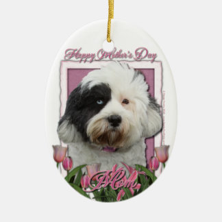 Mothers Day - Pink Tulips - Tibetan Terrier Double-Sided Oval Ceramic Christmas Ornament