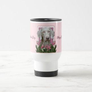 Mothers Day - Pink Tulips - Weimaraner - Gold Eyes 15 Oz Stainless Steel Travel Mug