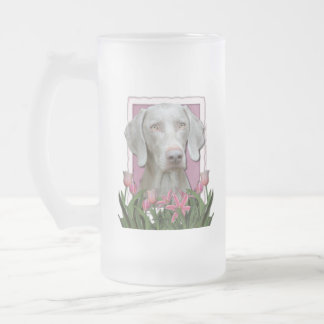 Mothers Day - Pink Tulips - Weimaraner - Gold Eyes 16 Oz Frosted Glass Beer Mug