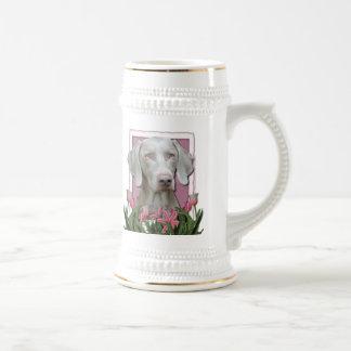 Mothers Day - Pink Tulips - Weimaraner - Gold Eyes 18 Oz Beer Stein