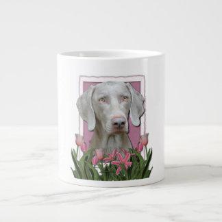 Mothers Day - Pink Tulips - Weimaraner - Gold Eyes 20 Oz Large Ceramic Coffee Mug