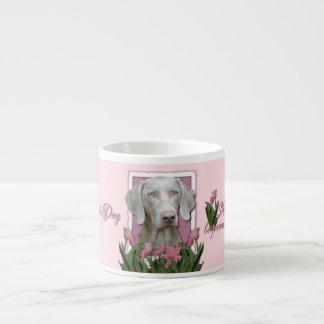 Mothers Day - Pink Tulips - Weimaraner - Gold Eyes 6 Oz Ceramic Espresso Cup