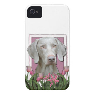 Mothers Day - Pink Tulips - Weimaraner - Gold Eyes Case-Mate iPhone 4 Cases