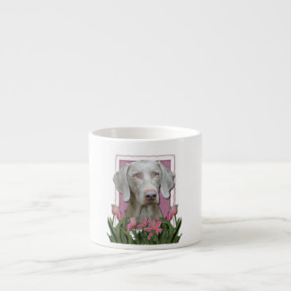 Mothers Day - Pink Tulips - Weimaraner - Gold Eyes Espresso Cup