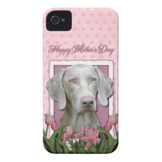Mothers Day - Pink Tulips - Weimaraner - Gold Eyes iPhone 4 Case-Mate Case