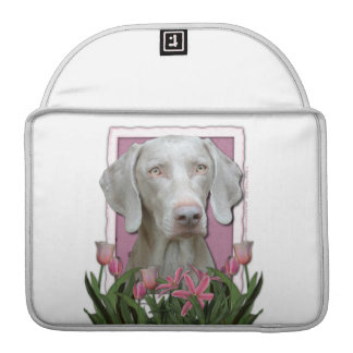 Mothers Day - Pink Tulips - Weimaraner - Gold Eyes Sleeves For MacBooks