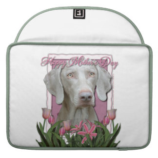 Mothers Day - Pink Tulips - Weimaraner - Gold Eyes MacBook Pro Sleeves