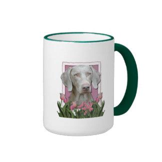 Mothers Day - Pink Tulips - Weimaraner - Gold Eyes Ringer Coffee Mug
