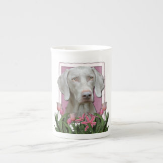Mothers Day - Pink Tulips - Weimaraner - Gold Eyes Tea Cup