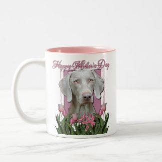 Mothers Day - Pink Tulips - Weimaraner - Gold Eyes Two-Tone Coffee Mug