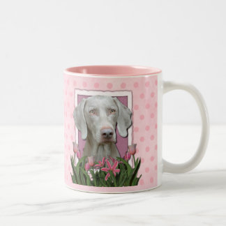Mothers Day - Pink Tulips - Weimaraner - Gold Eyes Two-Tone Coffee Mug