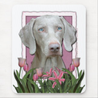 Mothers Day - Pink - Tulips - Weimeraner - Blue Mouse Pad
