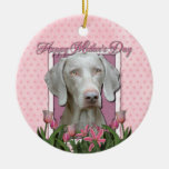 Mothers Day - Pink Tulips - Weimeraner - Gold Ornament