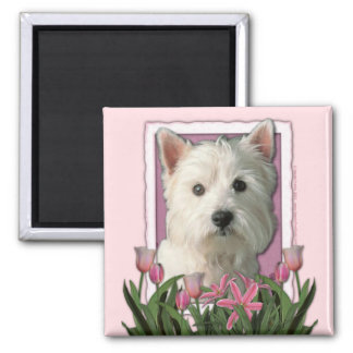 Mothers Day - Pink Tulips - West Highland Terrier 2 Inch Square Magnet